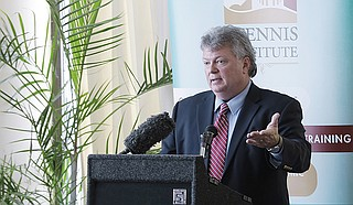 "Mississippi Attorney General Jim Hood says he is concerned about drugs like fentanyl being introduced into vape pods. ""Somebody could be right in front of you smoking fentanyl, and you wouldn't know it unless they fell out dead in a chair,"" Hood said. ""That's what's so scary about it. You don't know what's in that pod."" Photo by Imani Khayyam"