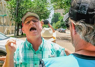 Anti-abortion activist Coleman Boyd, who often protests outside the Jackson Women's Health Organization with shouting and loud speakers, crashed an abortion-rights demonstration at the Mississippi State Capitol on May 21, 2019. Photo by Ashton Pittman