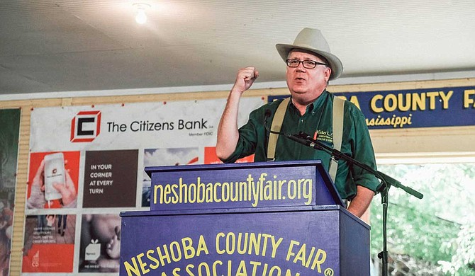 Former Mississippi Democratic Party Chairman Rickey Cole, a 2019 candidate for secretary of agriculture, spoke at the Neshoba County Fair in Philadelphia, Miss., on Aug. 31, 2019. Photo by Ashton Pittman.