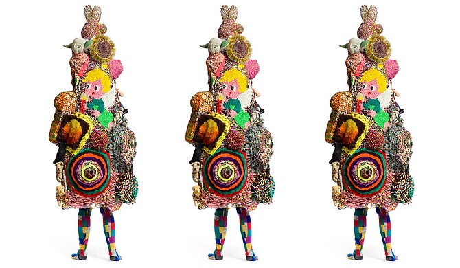Nick Cave, Soundsuit, 2018. Made from mixed media, including buttons, wire filter head, metal, and mannequin, 91 x 51 x 22 in. Courtesy of the artist and Jack Shainman Gallery, New York. © Nick Cave