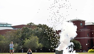 "SMACS ""Demos on the Drill Field"" event will present chemistry demonstrations including the ""screaming gummy bear,"" multi-colored flame tests, a liquid nitrogen cloud and an eruption of ping pong balls. Photo courtesy Megan Bean/MSU"