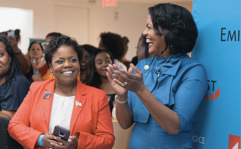 Jennifer Riley Collins (left), the Democratic nominee for Mississippi attorney general, stands next to Democratic U.S. House Rep. Jahana Hayes, the first black woman to represent Connecticut in Congress, at EMILY's List's Black Women Who Lead event in September. EMILY's List endorsed Collins on Oct. 15. Photo by ShaDonna Jackson courtesy EMILY's List.