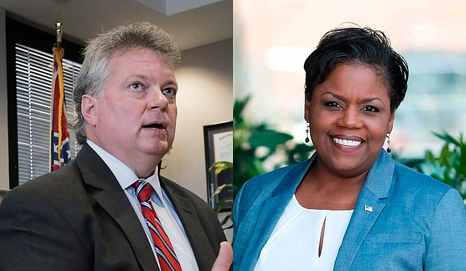 On Oct. 10, Jim Hood (left) debated the Republican gubernatorial nominee, Lt. Gov. Tate Reeves, before an audience in Hattiesburg. One of the moderators, Byron Brown of Jackson's WJTV-TV, noted the Democratic nominee for attorney general, Jennifer Riley Collins (right), has publicly criticized Hood for not supporting her campaign. Photo by Ashton Pittman