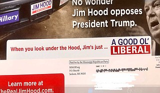 A Republican mailer makes several false claims about Democratic nominee Jim Hood and tries to tie him to national figures like former President Barack Obama and House Speaker Nancy Pelosi. SOURCE: Photo by Ashton Pittman