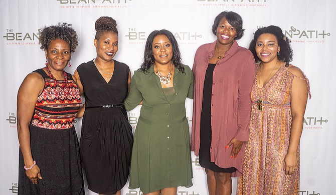 The Bean Path launched at the Eudora Welty Library in October 2018. The organization provides technical advice to new startups, small businesses and individuals in the Jackson community. Pictured left to right are staff members Tonie Sephus, Robyn Kennebrew, Nashlie Sephus, Theresa Kennedy and Whitney Wells. Photo courtesy 242 Creative