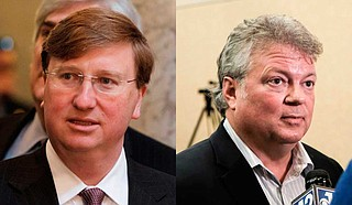 Tate Reeves (left) has spent more than $10.8 million this year, and he had nearly $2.2 million left in his campaign accounts. Jim Hood (right) has spent more than $5.2 million this year, and he had nearly $567,000 remaining. Photos by Ashton Pittman