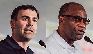 Mississippi Sen. Michael Watson (left), R-Pascagoula, is running against former Hattiesburg Mayor Johnny DuPree (right), a Democrat, for secretary of state. Both would keep voter identification in Mississippi, while Watson would implement an immigration citizenship check. Photos by Ashton Pittman