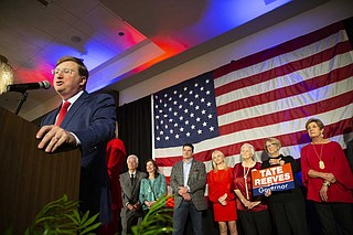 Mississippi Lt. Gov. Tate Reeves delivers his victory speech after winning the Mississippi governor's seat.