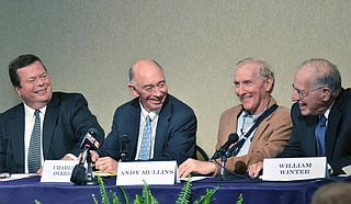 "Former Gov. William Winter (right) and several of the ""Boys of Spring"" celebrated the 30th anniversary of the Education Reform Act of 1982 at Millsaps College in 2012. Also pictured, left to right: former Mississippi Secretary of State Dick Molpus, former Clarion-Ledger Editor Charles Overby and Andy Mullins. Molpus and Mullins were two of the campaign staffers who helped push through reform. (AP Photo/The Clarion-Ledger, Greg Jenson)"