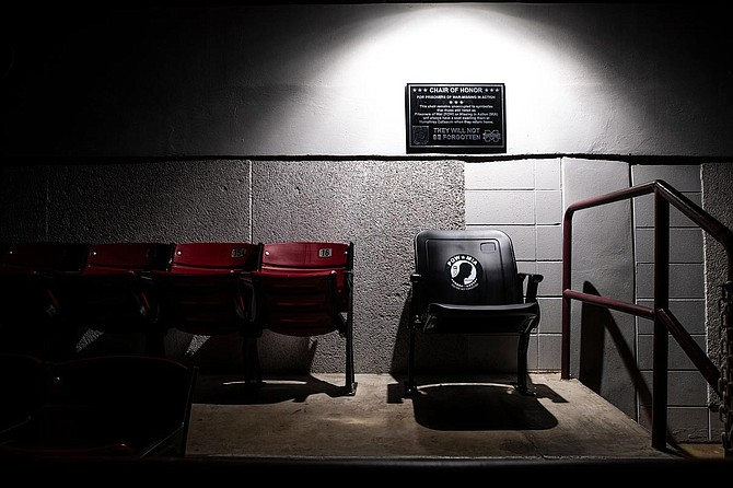 Mississippi State University unveiled permanent POW/MIA chairs of honor inside Davis Wade Stadium, Humphrey Coliseum and Dudy Noble Field in honor of service members on Veterans Day. Photo courtesy Aaron Cornia/MSU Athletics