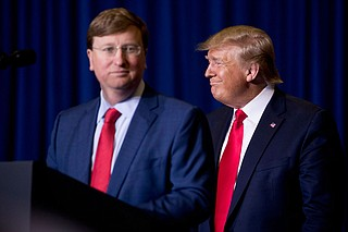 President Donald Trump's visit to Tupelo, Miss., to campaign for Tate Reeves may not have helped Republicans across the state as much as the GOP hoped, one of the state's top strategy and polling firms says. Photo by Andrew Harnik via AP