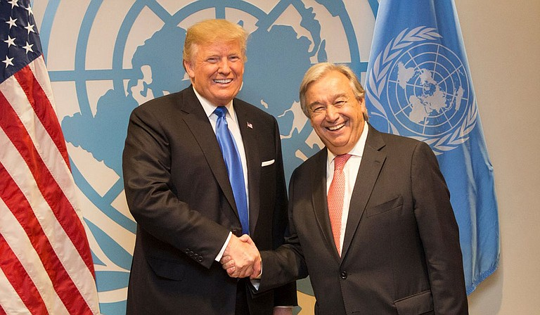 U.N. Secretary-General António Guterres (pictured here with Donald Trump) urged countries Monday not to lose hope in the fight against climate change, as representatives from nearly 200 countries gathered in Madrid for a two-week meeting on tackling global warming. Official White House Photo by Shealah Craighead