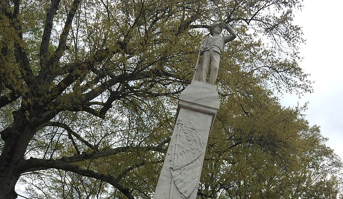 The monument is one of many erected across the South more than a century ago. Critics say its display near the university's main administrative building sends a signal that the school glorifies the Confederacy and glosses over the South's history of slavery. Photo by Donna Ladd