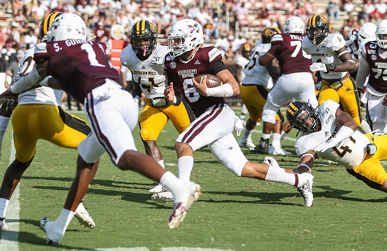 Garrett Shrader suffers injury, leading him to step down at quarterback for Mississippi State University in the Music City Bowl. MSU graduate Tommy Stevens will start in his place.
