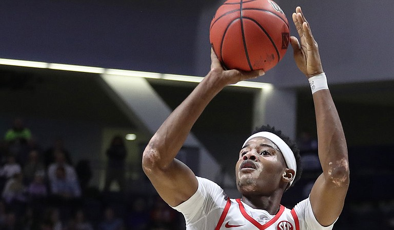 Devontae Shuler scores 20 points for the University of Mississippi in its Dec. 29 basketball game against Tennessee Tech. Courtesy Ole Miss Athletics.