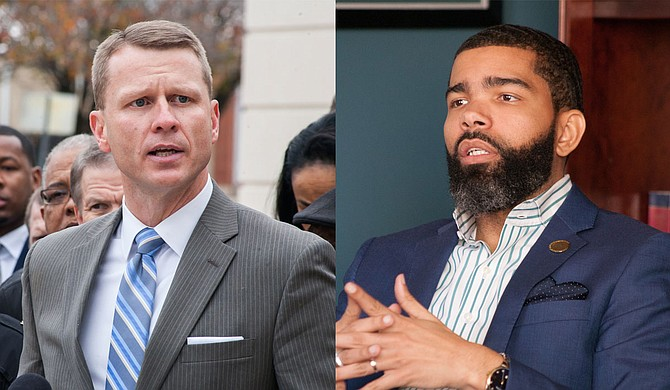 U.S. Attorney Mike Hurst (left) is gloating about arrests of black people in Jackson, and Mayor Chokwe A. Lumumba (right) and the Jackson City Council are collaborating with white politicians to create a racist police state, columnist Adofo Minka writes. Photo by Stephen Wilson/File Photo