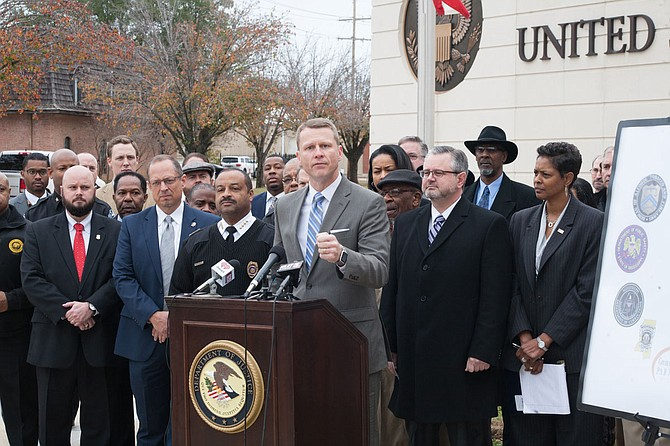 U.S. District Attorney Mike Hurst announced Project EJECT on Dec. 7, 2017 with then-Jackson Police Chief Lee Vance (left) and former FBI Special Agent Christopher Freeze (right). Photo by Stephen Wilson