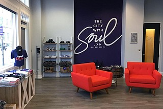 The JXN Welcome Center features maps of restaurants and attractions in the city, visitor's guides and brochures on events and a shop that sells Jackson-themed T-shirts, sweatshirts, hats, cups, blankets and other merchandise. Photo by Dustin Cardon