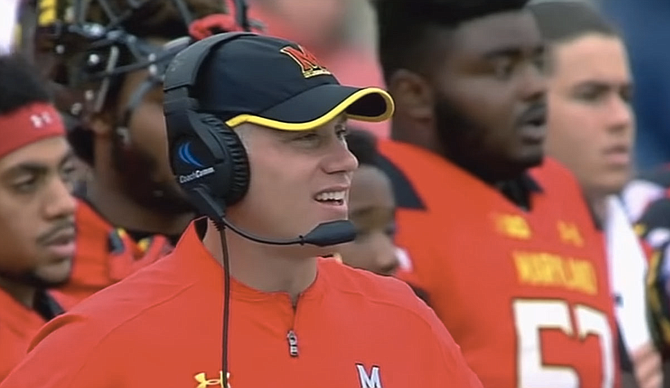 The University of Mississippi's new assistant football coach, D.J. Durkin, was part of a toxic and dangerous team culture at the University of Maryland, where player Jordan McNair died after a practice in summer heat. Screenshot courtesy ESPN