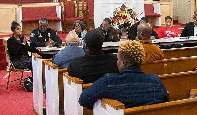 Attorney and activist Rukia Lumumba addresses attendees of a public forum on gun violence in Jackson at the Mt. Helm Baptist Church in downtown Jackson on Jan. 20, 2020. Photo by Seyma Bayram