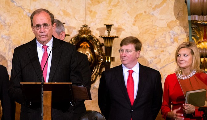 Lt. Gov. Hosemann, Tate Reeves and Elee Reeves shortly before the governor's inauguration. Photo by Drew Dempsey