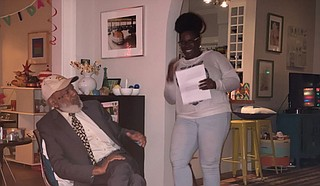 "James Meredith says the Jackson Free Press "" introduces Jackson to Jackson."" He is pictured with Editorial Assistant Azia Wiggins. Photo courtesy Judy Meredith"