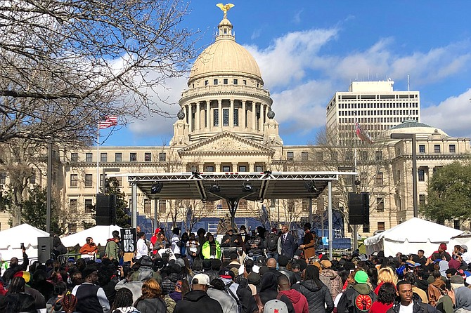 Hundreds of activists and affected families convened outside the Mississippi Capitol in downtown Jackson on Jan. 24 to protest inhumane conditions inside the state's prison system. Photo by Seyma Bayram