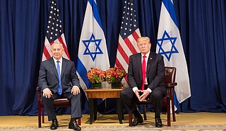 Trump presented the plan at a White House ceremony with Israeli Prime Minister Benjamin Netanyahu (left) and other Israeli officials and allies, including evangelical Christian leaders and wealthy Republican donors but no Palestinian representatives. Photo by Shealah Craighead