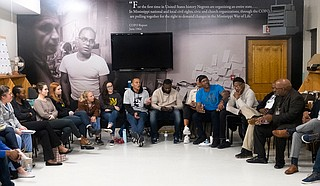 Jackson community members attend the Strong Arms of JXN credible messenger and violence interruption meeting at the COFO Civil Rights Education Center in downtown Jackson, Mississippi on Jan. 28, 2020. Photo by Seyma Bayram