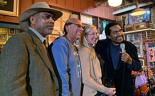 "Malcolm Shepherd, Paul Benjamin, Brandi Lee and Bobby Rush pose at the re-presentation of Hal & Mal's ""Keeping the Blues Alive"" award held Monday, Feb. 3. Photo courtesy Peggy Brown"
