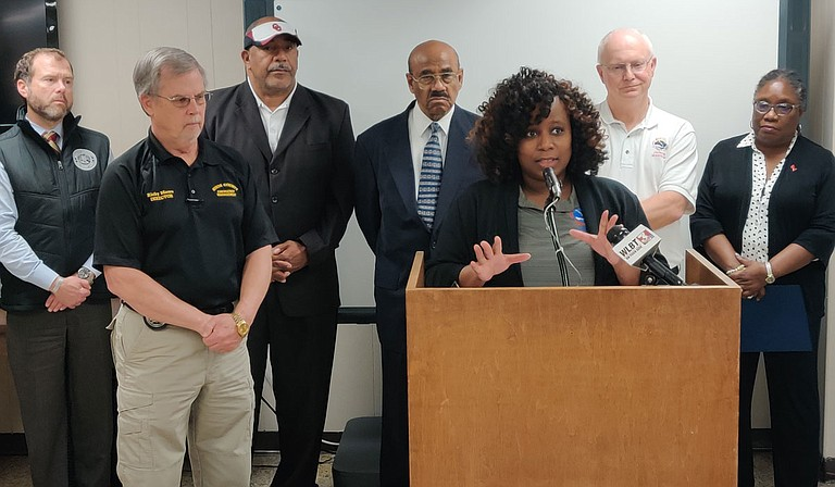 Felecia Bowser, senior meteorologist from the National Weather Service, joined officials from Hinds County and the City of Jackson to warn that the Pearl River has reached a dangerously high crest. Rainfall over the coming week could cause dangerous flooding. Photo by Nick Judin