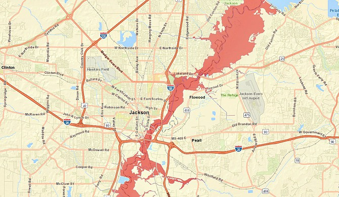 Predicted flood areas if Pearl River reaches 34 feet