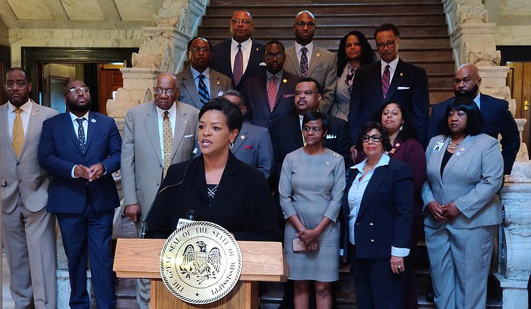 Sen. Angela Turner-Ford, D-West Point, chairwoman of the Mississippi Legislative Black Caucus, presented the group's agenda for the 2020 legislative session on Feb. 12 in the Capitol rotunda. Health care, education, criminal-justice reform and election reform topped the docket. Photo by Nick Judin