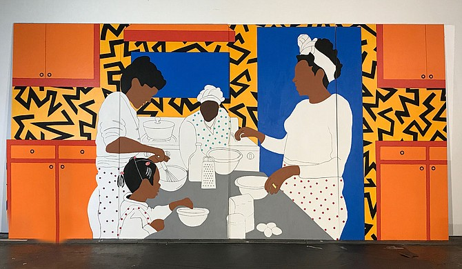 """""""Mama Rose Kitchen,"""" a painting by Mississippi artist Adrienne Dominick, is one of several public art projects included in the Fertile Ground Expo. Scheduled for April 9-11, the expo aims to inspire dialogue around hunger and food access issues in Jackson and beyond. Photo by Adrienne Dominick."""