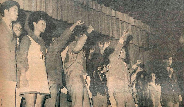 In February 1970, a group of black students burned a Confederate flag and danced on tables in the cafeteria to the music of B.B. King. The next day, almost half of the black students at the university participated in a protest during a campus concert of Up With People. A photo published in the student newspaper at the time showed that some of the protesters stood on stage with their fists in the air—a symbol of the black power movement. During and after the concert, 89 people were arrested and sent to a local jail or to the Mississippi State Penitentiary at Parchman. Photo courtesy The Daily Mississippian