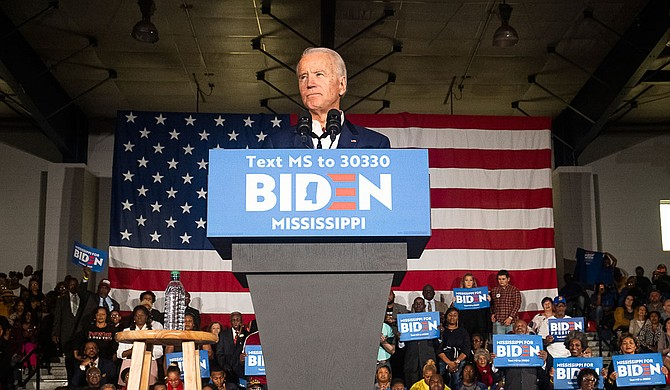 Democratic presidential hopeful Joe Biden addresses the crowd during a rally at Tougaloo College in Jackson, Mississippi on March 8, 2020. Photo by Seyma Bayram