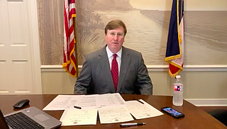 "Gov. Tate Reeves announced that he will not order non-essential Mississippi businesses to close or for Mississippians to ""shelter in place"" to flatten the curve of the coronavirus. He made it clear that business concerns are keeping him from enacting a consistent policy across Mississippi. Photo: Facebook Live"
