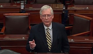 """A fight has arrived on our shores,"" said Senate Majority Leader Mitch McConnell. ""We did not seek it, we did not want it, but now we're going to win it."" Photo courtesy CSPAN"
