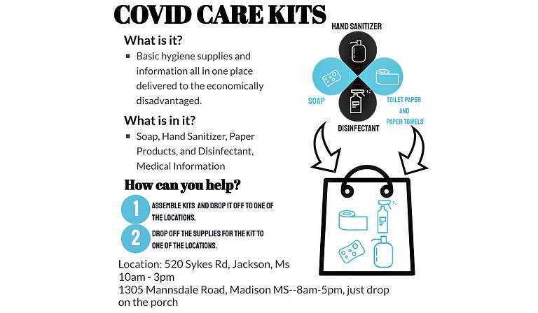 The Jackson COVID-19 Community Food and Aid Coalition is assembling care packages containing hygiene items to help deter the virus. Those who would to participate may drop off kits or supplies for kits at one of the listed locations. Graphic courtesy Jackson Community COVID Response