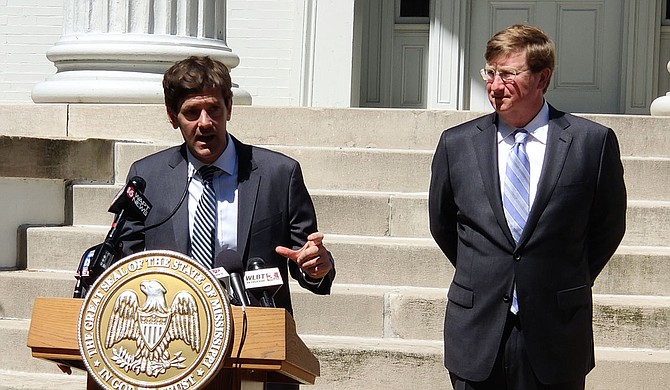 For a state looking to interdict COVID-19 while keeping businesses running, the South Korean model is appealing, and both Gov. Tate Reeves (right) and State Health Officer Dr. Thomas Dobbs (center) believe it can work in Mississippi. Photo by Nick Judin