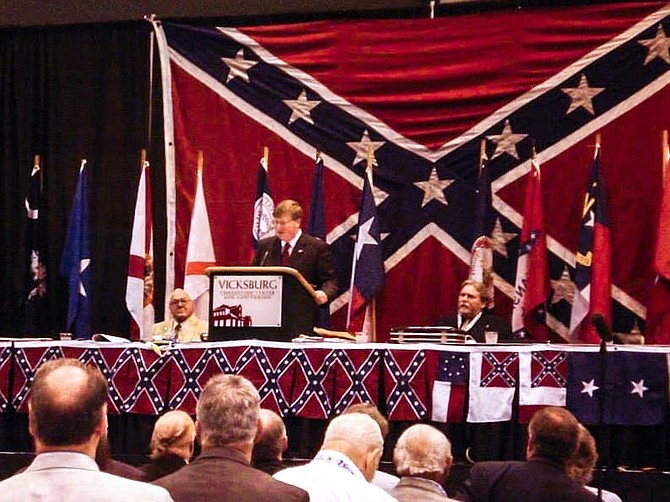 Mississippi Gov. Tate Reeves spoke at the Sons of Confederate Veterans' national reunion in Vicksburg, Miss., in July 2013. Photo via R.E. Lee Camp 239 SCV Facebook group.