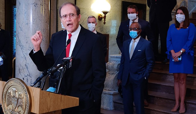 Flanked by lawmakers, Lt. Gov. Delbert Hosemann held a press conference Friday, May 1, detailing the Legislature's belief that it oversees CARES Act appropriations, in opposition to Gov. Tate Reeve's plan to use his emergency powers to control the funds. Photo by Nick Judin