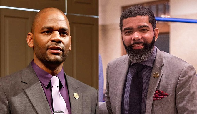 Ward 4 Councilman De'Keither Stamps (left) successfully proposed a transfer of Siemens settlement funds for use on the Highway 80 corridor, but Mayor Chokwe A. Lumumba (right) is not pleased. Photos by Imani Khayyam/File photo and City of Jackson.