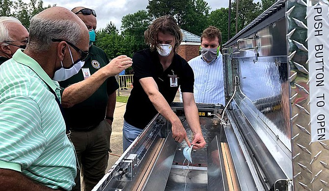 MSU researchers and engineering students created the sterilizer, which is a modified truck toolbox, to disinfect N-95 protective masks using ultraviolet light. The team researched the theory behind the design from Nebraska Medicine, a release from MSU says. Photo courtesy MSU