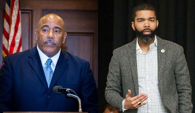 Columnist Adofo Minka calls out Hinds County Supervisor David Archie (left) and Jackson Mayor Chokwe A. Lumumba (right) for expanding the police state and militarization against black people. Photos courtesy Hinds County/Stephen Wilson