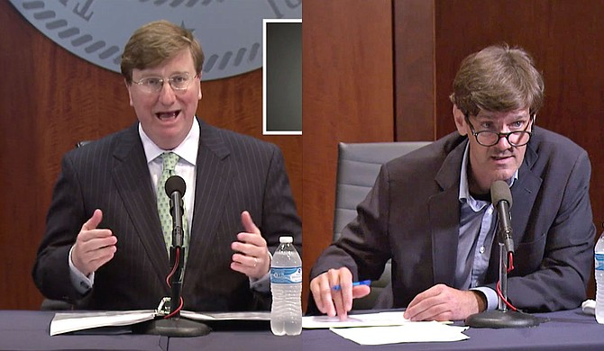 Gov. Tate Reeves (left) is ending Mississippi's transitional COVID-19 shutdown period, while State Health Officer Dr. Thomas Dobbs (right) has agreed to obey the court order compelling the release of long-term care facility names to the press. Photo courtesy State of Mississippi