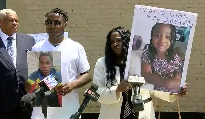 Attorney Dennis Sweet III convened four families at his office in Jackson on June 9 to speak out about police brutality. Three of four of the cases resulted in death. Photo courtesy WLBT Screencap