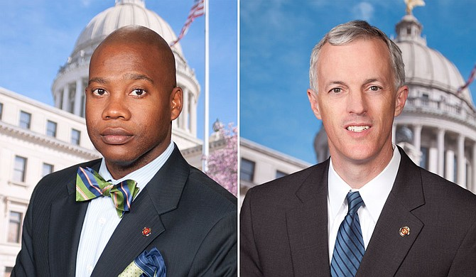 Senate Minority Leader Derrick Simmons, D-Greenville, and Sen. David Blount, D-Jackson, introduced a resolution on June 11, 2020, to change the state flag, building on the momentum of the national conversation on race. Photo courtesy Mississippi Senate