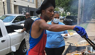 Chef Kazzy Ferdinand served at the Ward 3 Juneteenth celebration in downtown Jackson. Photo by Kayode Crown