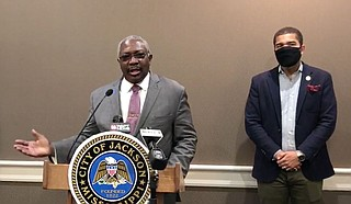 Sen. John Horhn, D-Jackson, tells media about a new bill to lower capital-city residents' water bills and help the City's bond rating. It is on Gov. Tate Reeves' desk for signature. Photo City of Jackson